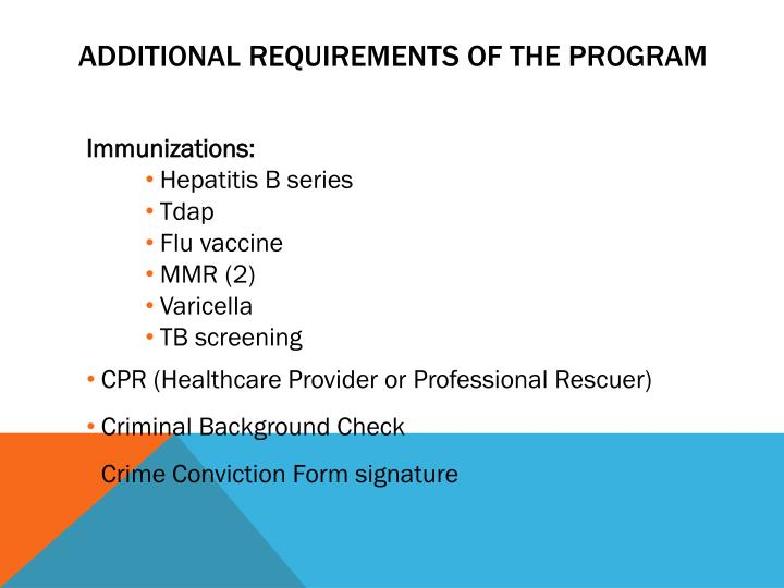 Additional Requirements of the program