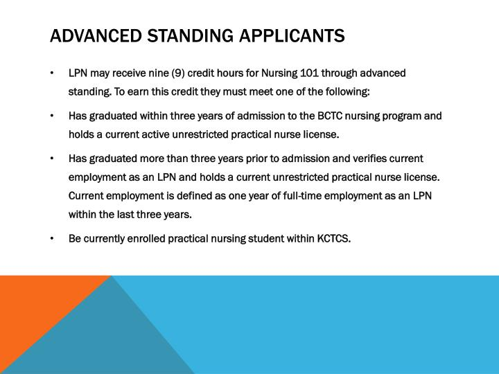 Advanced standing applicants