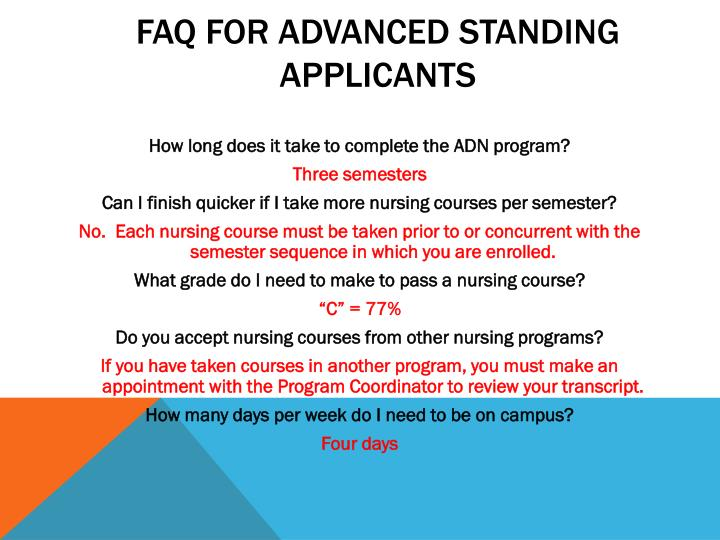 FAQ for advanced standing applicants