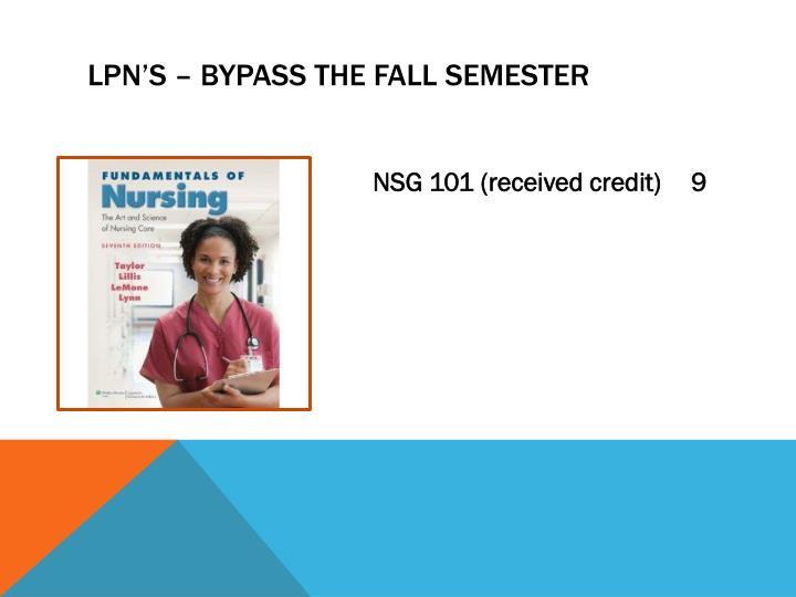 LPN's – bypass the fall semester