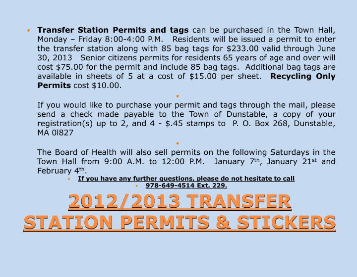 Transfer Station Permits and tags
