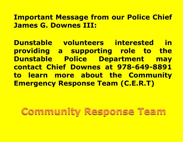 Important Message from our Police Chief James G. Downes III: