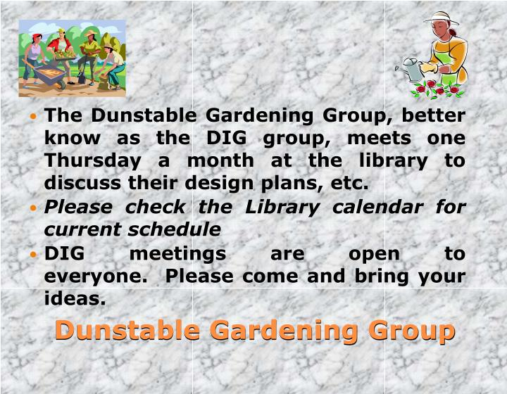 The Dunstable Gardening Group, better know as the DIG group, meets one Thursday a month at the library to discuss their design plans, etc.
