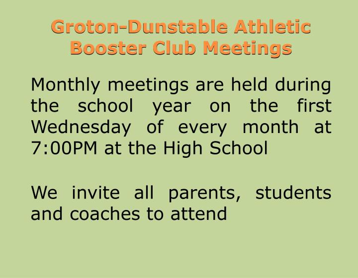 Groton-Dunstable Athletic Booster Club Meetings