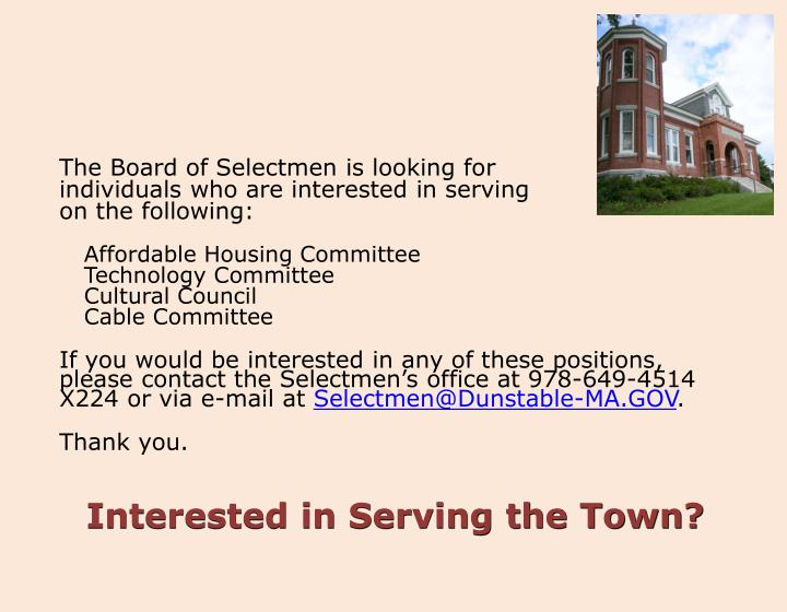 The Board of Selectmen is looking for