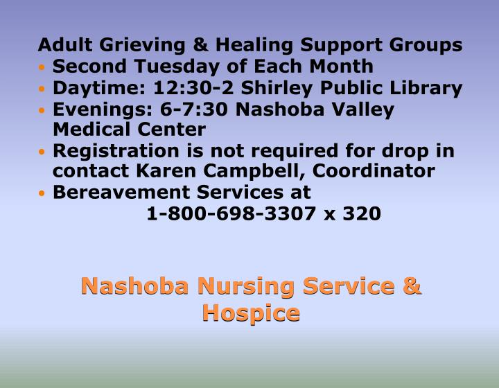 Adult Grieving & Healing Support Groups