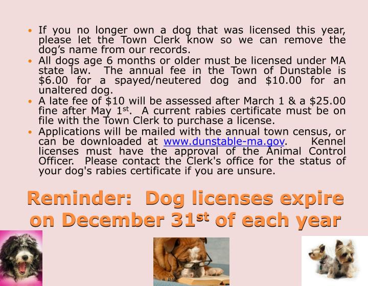If you no longer own a dog that was licensed this year, please let the Town Clerk know so we can remove the dog's name from our records.