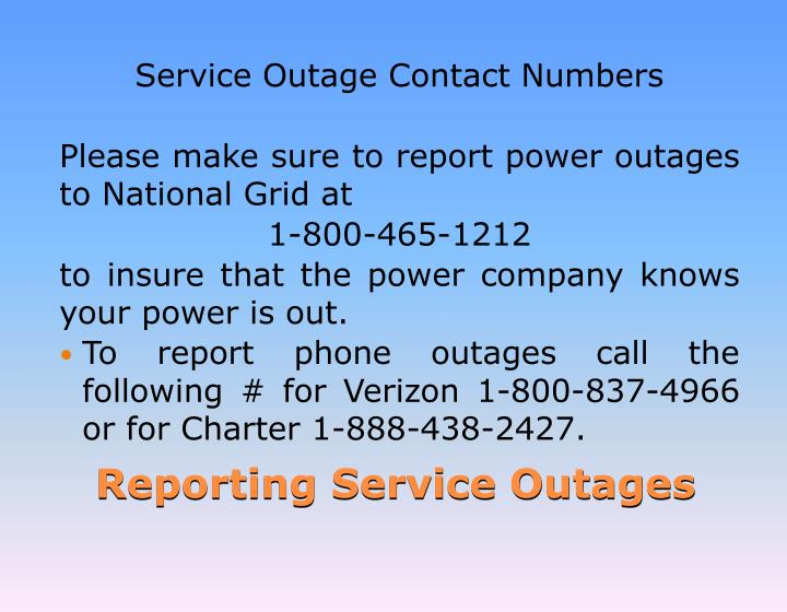 Service Outage Contact Numbers
