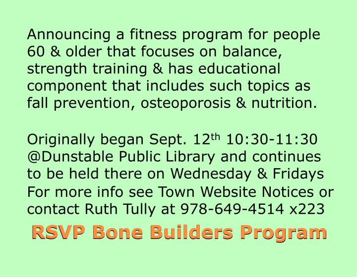 Announcing a fitness program for people 60 & older that focuses on balance, strength training & has educational component that includes such topics as fall prevention, osteoporosis & nutrition.