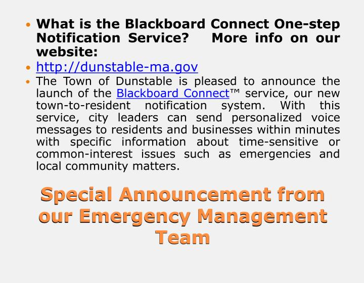 What is the Blackboard Connect One-step Notification Service?   More info on our website: