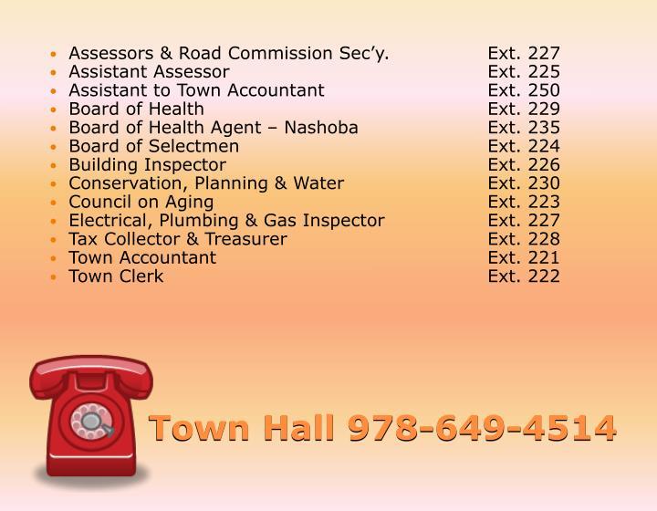 Assessors & Road Commission Sec'y.Ext. 227
