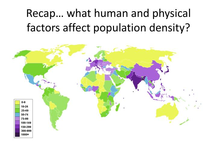 Recap… what human and physical factors affect population density?