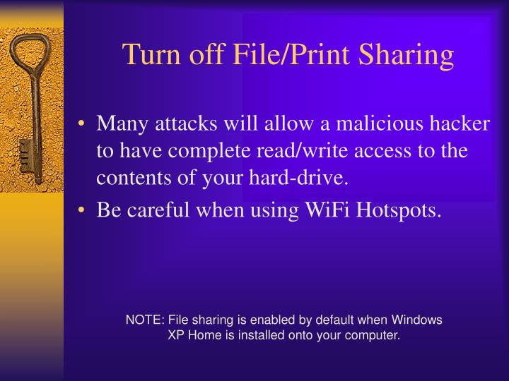 Turn off file print sharing