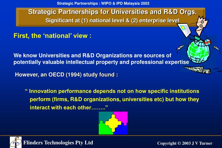 Strategic Partnerships for Universities and R&D Orgs.
