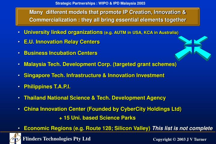 Many  different models that promote IP Creation, Innovation & Commercialization : they all bring essential elements together
