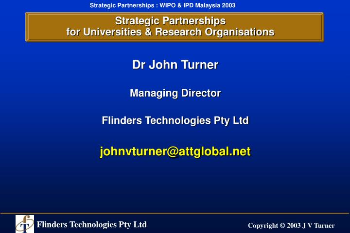 Strategic partnerships for universities research organisations