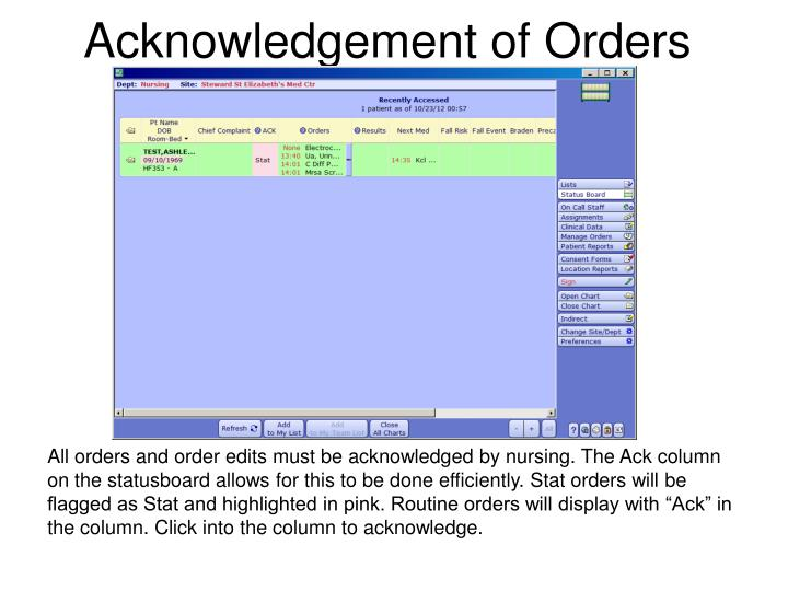 Acknowledgement of Orders