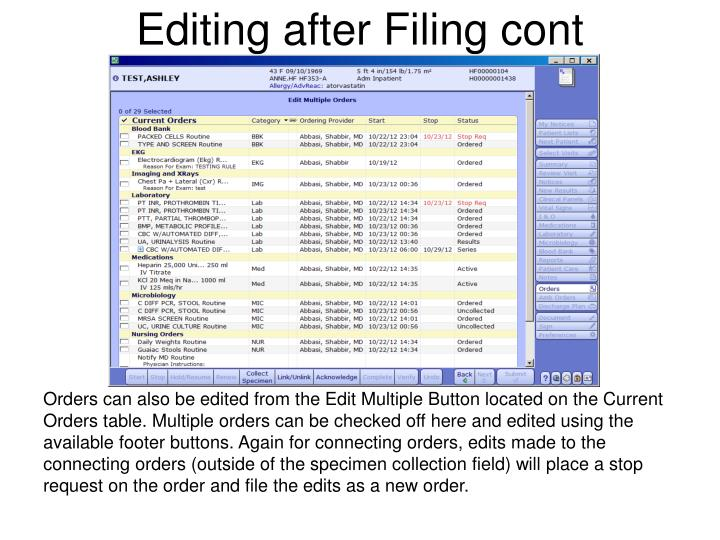 Editing after Filing cont