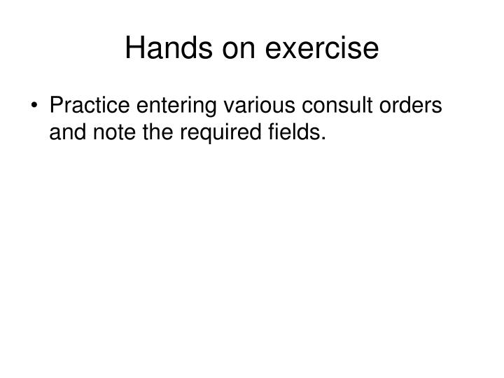 Hands on exercise