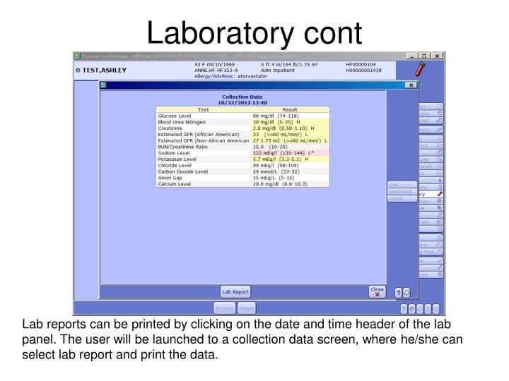 Laboratory cont