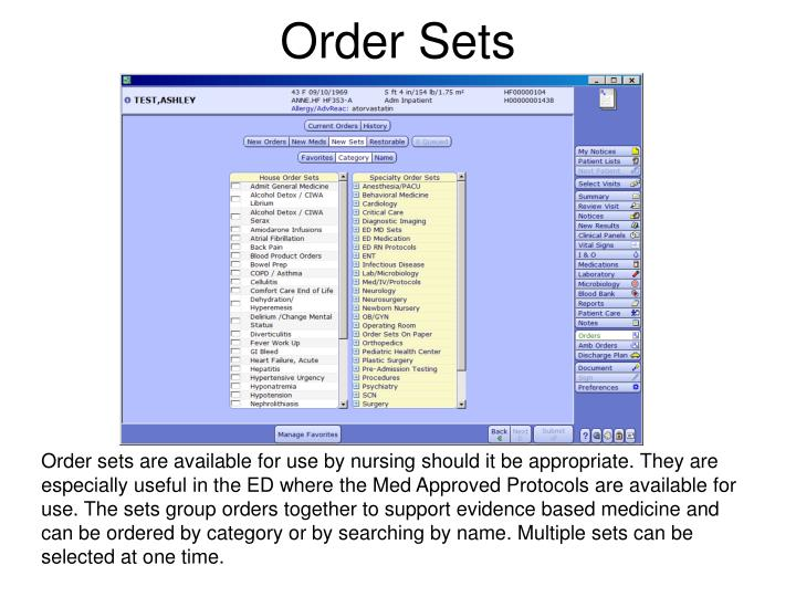 Order Sets