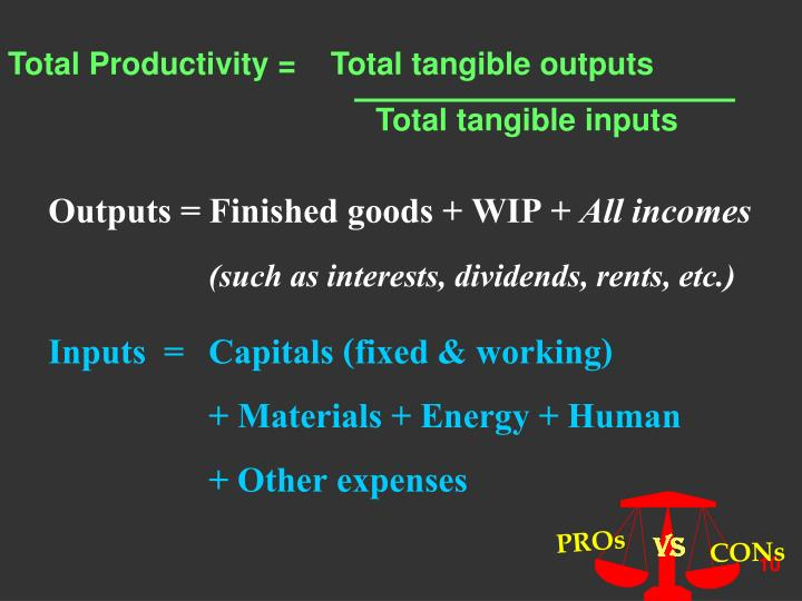 Total Productivity =    Total tangible outputs
