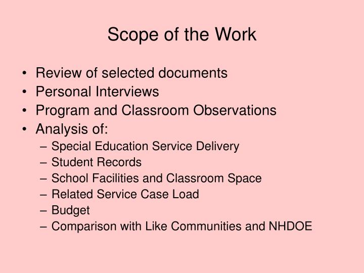 Scope of the Work
