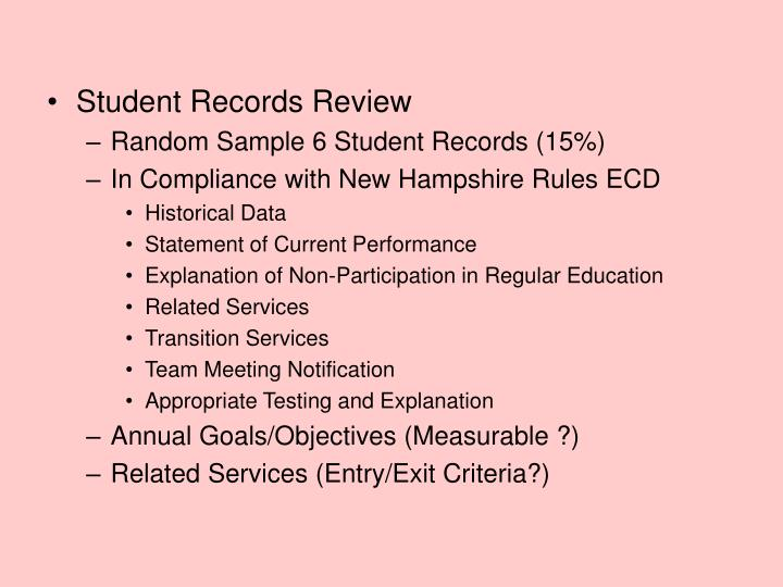 Student Records Review