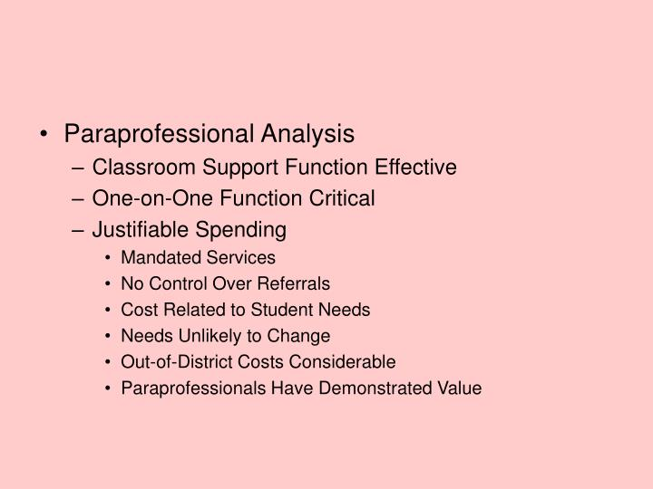 Paraprofessional Analysis