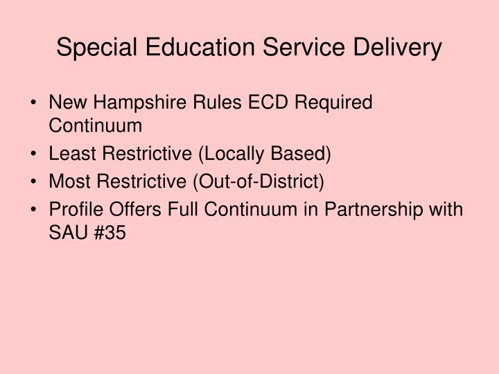 Special Education Service Delivery