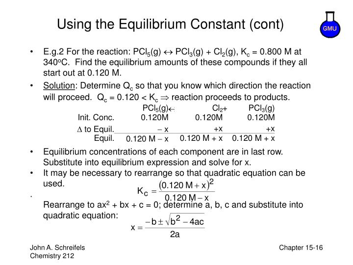 Using the Equilibrium Constant (cont)