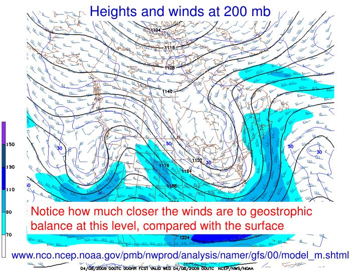 Heights and winds at 200 mb