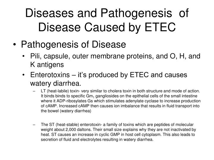 Diseases and Pathogenesis  of Disease Caused by ETEC