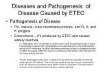 diseases and pathogenesis of disease caused by etec1