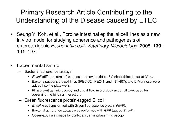Primary Research Article Contributing to the Understanding of the Disease caused by ETEC