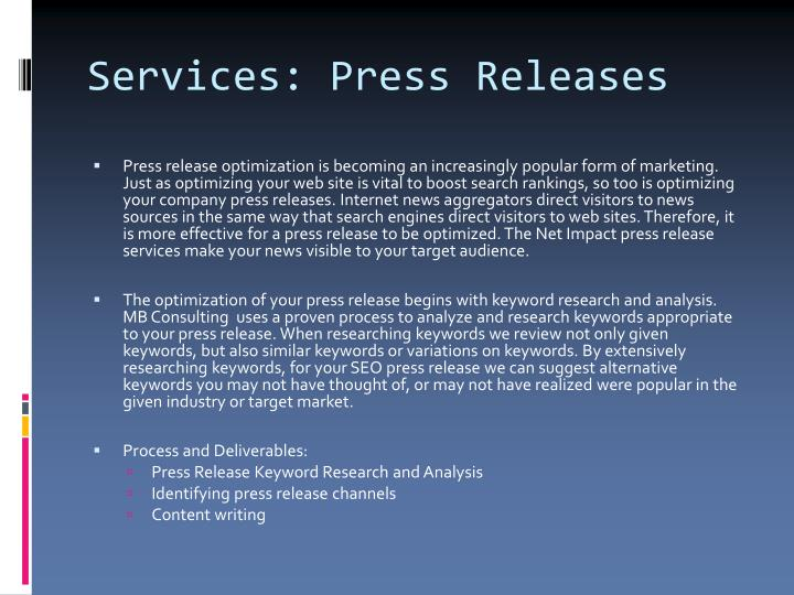 Services: Press Releases