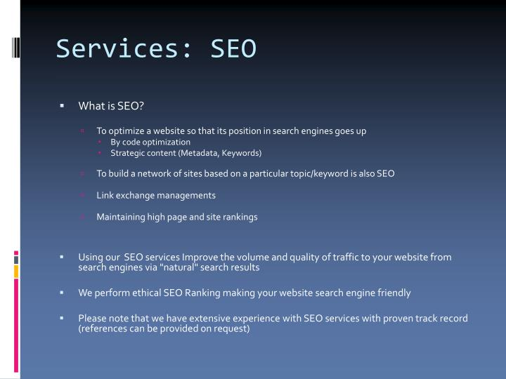 Services: SEO