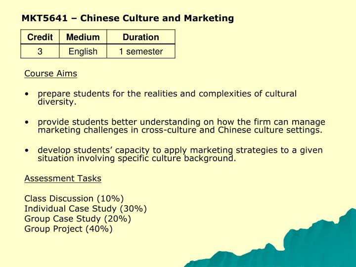 MKT5641 – Chinese Culture and Marketing