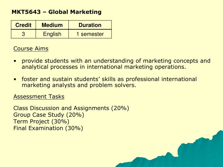 MKT5643 – Global Marketing