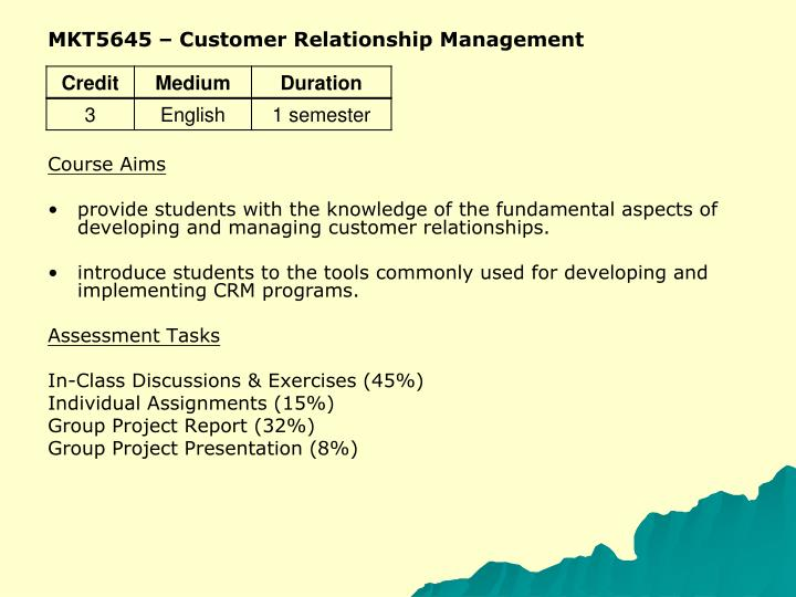 MKT5645 – Customer Relationship Management