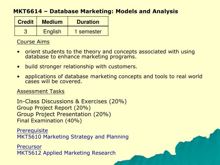 MKT6614 – Database Marketing: Models and Analysis