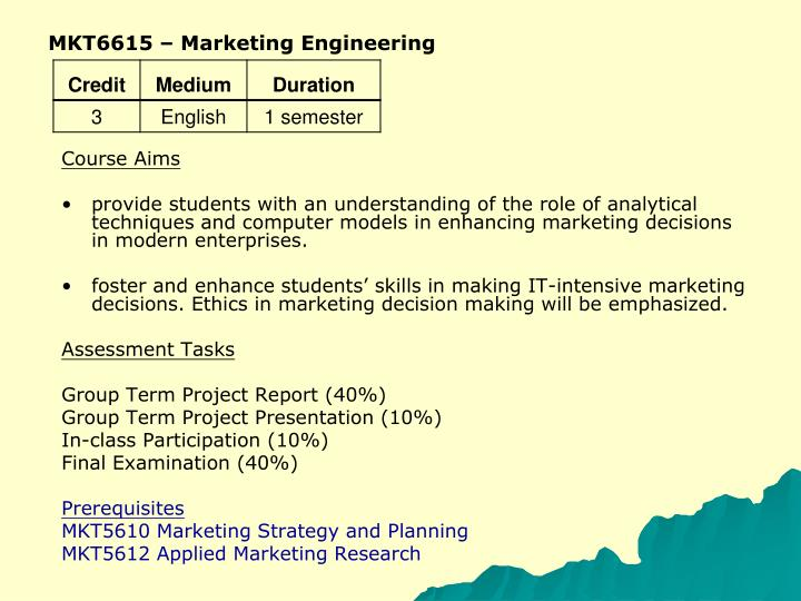 MKT6615 – Marketing Engineering