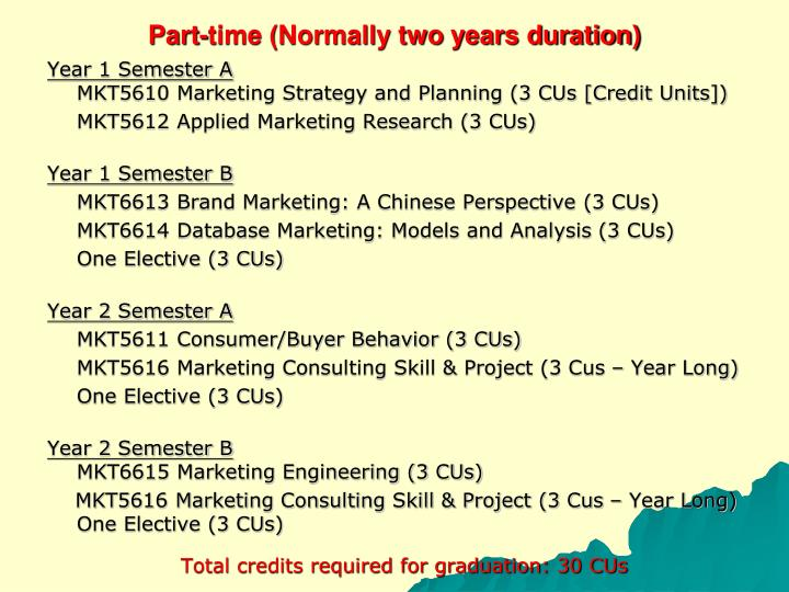 Part time normally two years duration