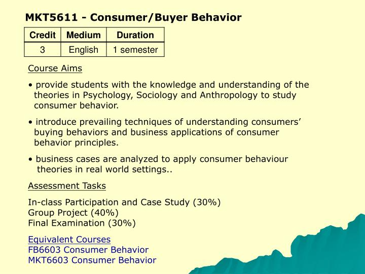 MKT5611 - Consumer/Buyer Behavior