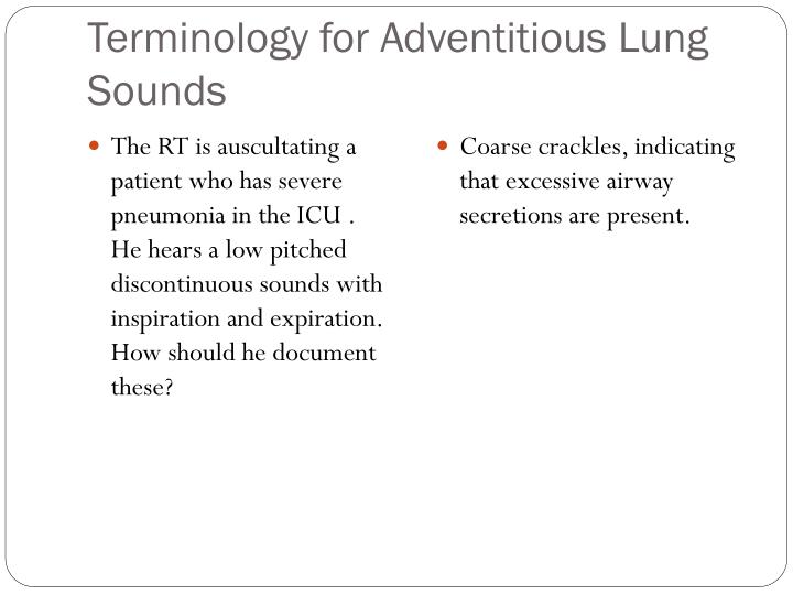 Terminology for Adventitious Lung Sounds