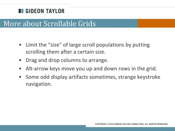 More about Scrollable Grids