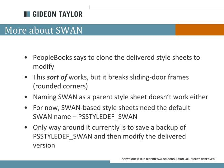 More about SWAN