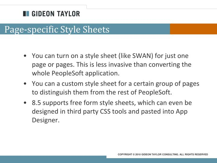 Page-specific Style Sheets