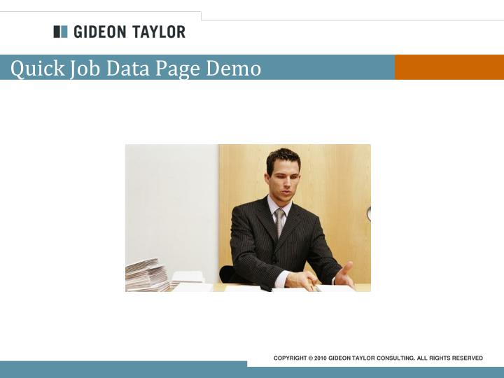 Quick Job Data Page Demo