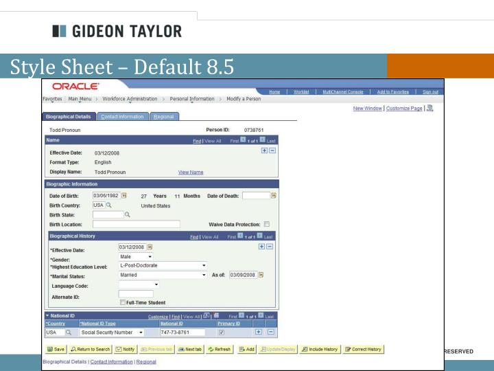 Style Sheet – Default 8.5